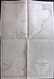 Admiralty Chart 1966 Map. Strait of Gibraltar, Africa